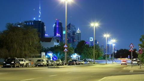 Time Lapse Of Dubai Night Against The Burj Khalifa Stock Video Footage