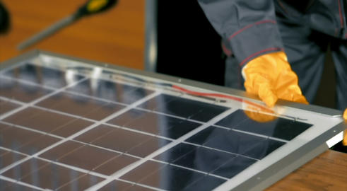 Solar Panel Assembly stock footage