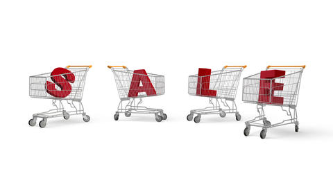 Shopping Carts And Sale stock footage