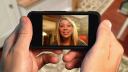 Video Chat on Phone Stock Video Footage