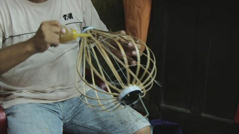Building an asian lantern Stock Video Footage