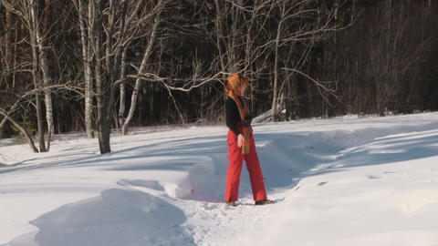 Beauty woman with dog in winter country Stock Video Footage