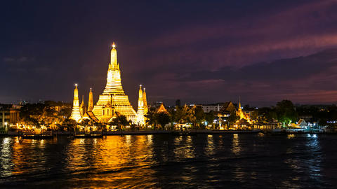 BANGKOK TEMPLE OF DAWN - TIME LAPSE Stock Video Footage
