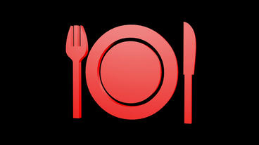 Rotation Of 3D Tableware.dishware,kitchen,fork,knife,flatware,spoon,metal,dinner,restaurant stock footage