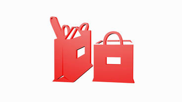 Rotation of 3D Shopping bags.spending,shopping-mall,commercial,birthday,gift,box Animation