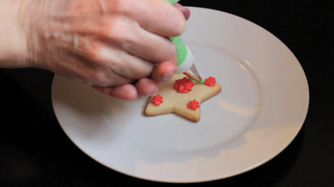 Putting Finishing Touches On Christmas Cookie Stock Video Footage