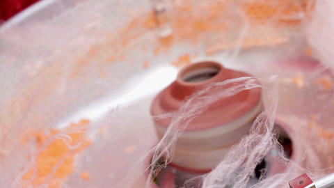 Making of cotton candy Stock Video Footage