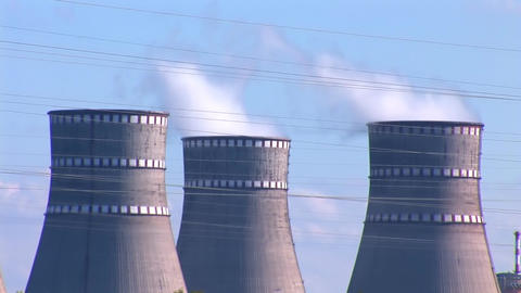Nuclear Power Station b Stock Video Footage