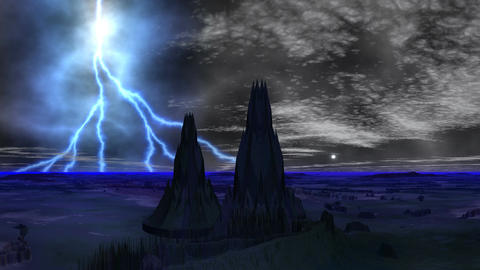 Lightning over towers of aliens Stock Video Footage