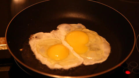 Eggs Fried In A Pan stock footage