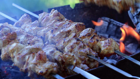 Shish Kebabs On Skewers stock footage