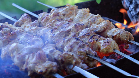 Shish Kebabs On Skewers Stock Video Footage