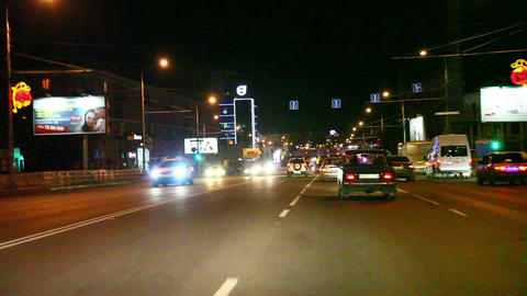 Traffic in the city at night Footage
