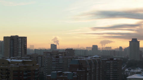 Sunrise over the city. Time lapse Footage