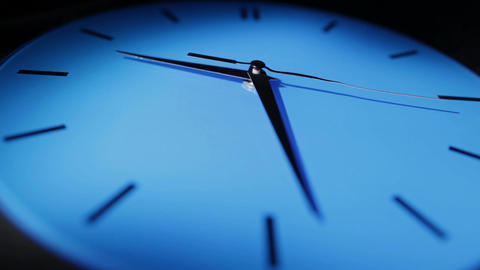 Blue clock. Real time Footage