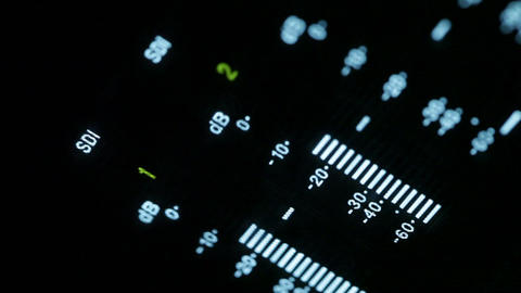 Macro shot of the professional video recorder equalizer Stock Video Footage