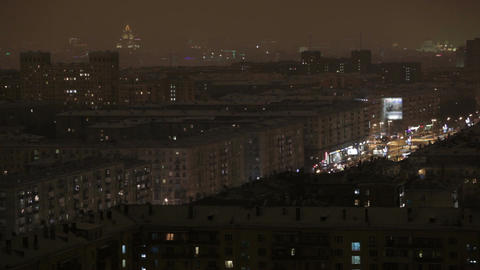 Night Moscow time lapse Stock Video Footage