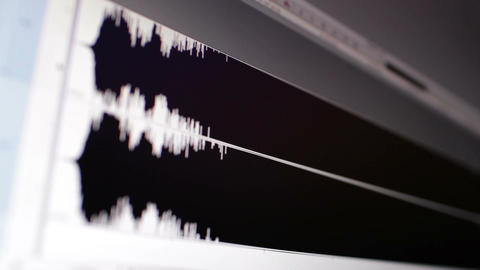 Timeline window with waveform. Focus pulling Stock Video Footage