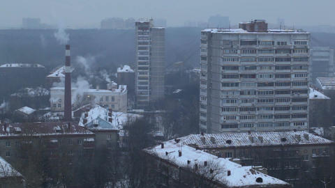 City time lapse at the evening. Factory chimney with... Stock Video Footage