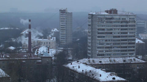 City time lapse at the evening. Factory chimney with smoke. Moscow, aerial view Footage