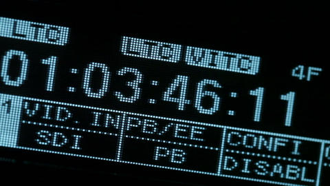 Running timecode on the vcr. Blinking SDI signal Stock Video Footage