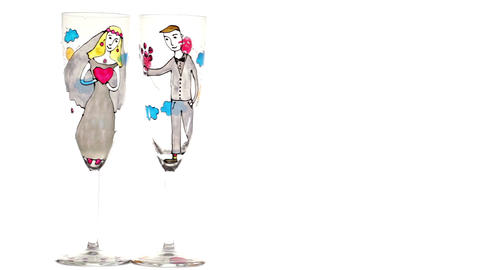 Wedding champagne glasses on white background Stock Video Footage