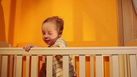 Boy plays with balloon in the playpen Footage