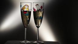 Vintage wedding champagne glasses on black background Stock Video Footage