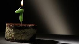 Candle seven in tiramisu cake Footage