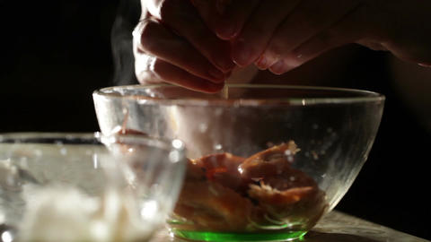 Women's hands are cleaning shrimp Stock Video Footage