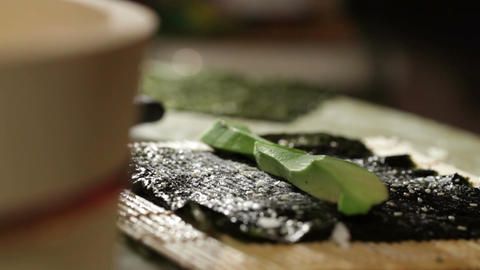 Cooking sushi roll with avocado and philadelphia cheese Stock Video Footage