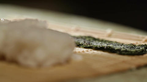 Cooking sushi roll. Macro shot Stock Video Footage