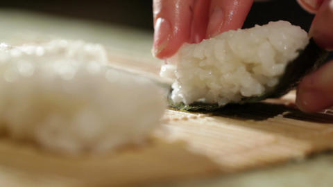 Cooking sushi roll. Macro shot Footage