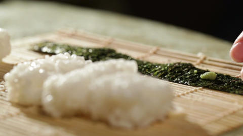 Montage of making sushi rolls at home Footage