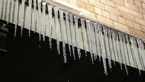 Icicles. First day of spring Stock Video Footage