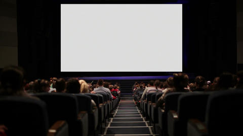 Viewers in the cinema house. Variant with screen motion Footage