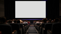 Viewers in the cinema house. Variant with screen motion Stock Video Footage