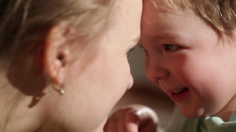 Mom And Her Son Kissing. Lovely Close Ups stock footage