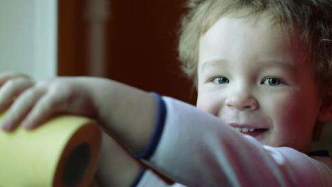 Happy kid's smile. Close up Stock Video Footage