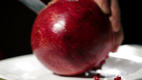 Cutting The Pomegranate stock footage