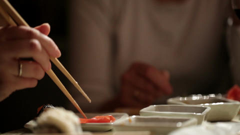 Eating Sushi At Home. Close Up Detail. stock footage
