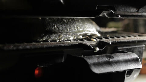 Fish cooking in the grill. Fat droplets. Macro shot Footage