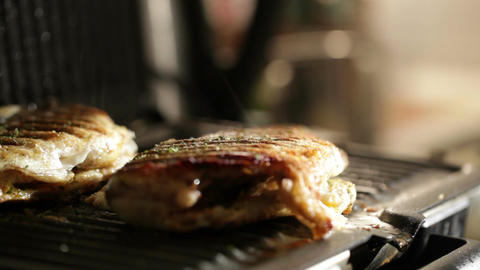 Fish is ready. Adding spices to fish in the grill. Macro... Stock Video Footage