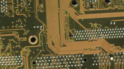 High technology background, computer circuit board. Pan macro shot Footage