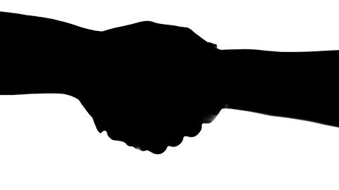 Shaking hands of two people, silhouette isolated on white Footage