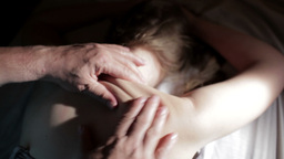 Young Woman Getting Back Massage. stock footage