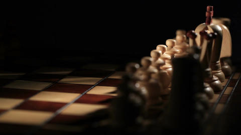 Chess game starts - white moves the pawn Stock Video Footage
