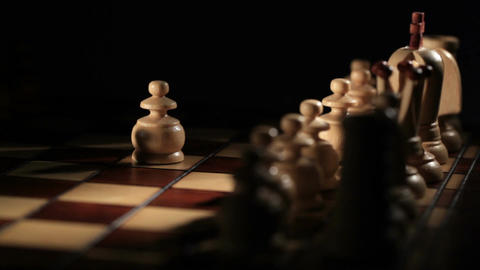 Chess Game Starts - White Moves The Pawn. stock footage