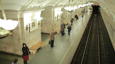 Train arriving at the Oktyabrskaya metro station Stock Video Footage