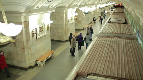 Train arriving at the Oktyabrskaya metro station Footage